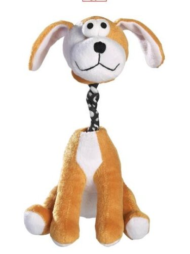 Dog Toy - Zanies Bungee Barker Plush Pull toy with Squeaker - Brown