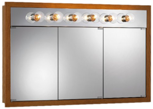 Jensen 755419 Granville Lighted Medicine Cabinet with Six Bulbs, Honey Oak, 48-Inch by 30-Inch by 4-3/4-Inch