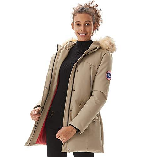 PUREMSX Women's Padded Jacket, Ladies Long Thicken Parka Faux Fur Down Alternative Winter Outwear Warm Overcoat,Beige,Medium (Lady Down Jacket)