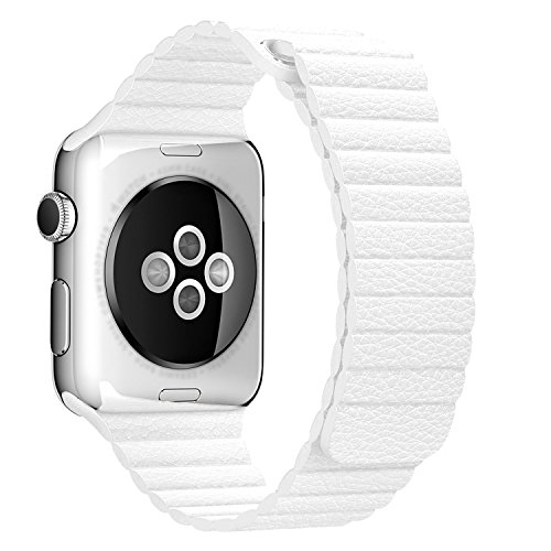 Apple Watch Band 42mm, Betteck Leather Loop with Adjustable Magnet Lock iWatch Band Replacement Bracelet Strap for Apple Watch Series 1 Series 2 Sport & Edition 42mm, No Buckle Needed-White