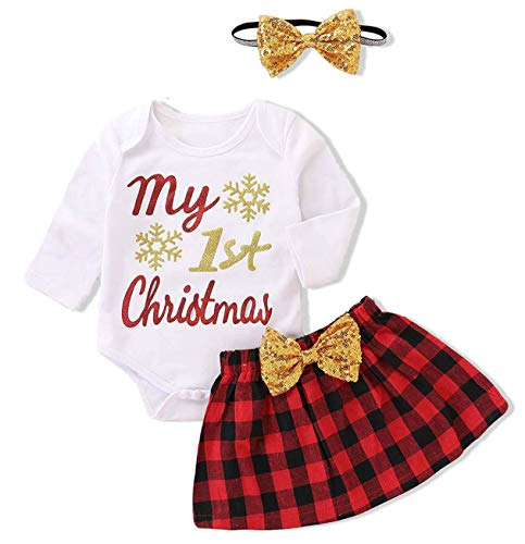Christmas Baby Girl Clothes Santa Baby Romper + Plaid Skirts with Bow Headbands Xams Outfit]()