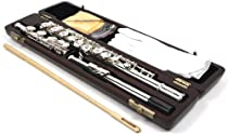 SILVER PLATED 17 KEYS OPEN HOLE FLUTE ENGRAVED MOUTHPIECE & FOOT WITH WOOD CASE