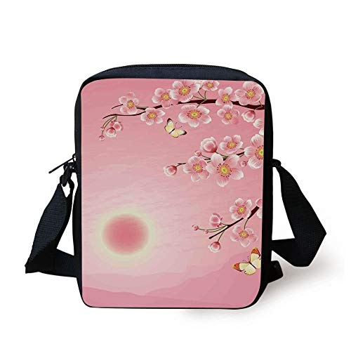 Asian Decor,Cherry Blossom Tree with Sun Scenery on the Backside Spring Days Butterfly Nature Print,Pink Yellow Print Kids Crossbody Messenger Bag Purse