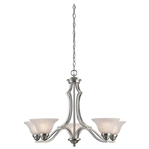 Westinghouse Lighting 6228600 Fallon Five-Light Interior Chandelier, Satin Platinum Finish with White Alabaster Glass