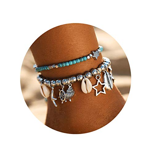 FINETOO Multi-Layer Beach Anklet Adjustable Handmade Shell Conch Beads Charm Anklet Foot Jewelry Gifts for Women