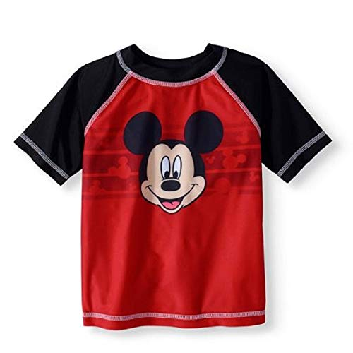 Disney Toddler Boys Mickey Mouse Rash Guard Shirt Top, Red Black, 5 swim shirts red 5