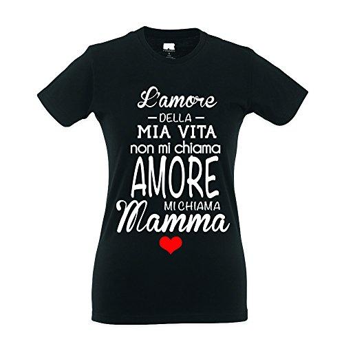 della Festa Cotone Vita Babloo Mamma Mia Regalo della L'Amore Idea Nero T Shirt fxqwXY