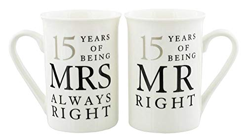 Ivory 15th Anniversary Mr Right & Mrs Always Right Mug Gift Set by Happy Homewares