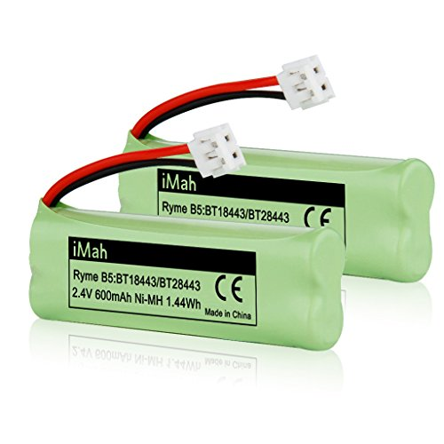2-Pack iMah Ryme B5 Rechargeable Cordless Phone Battery for BT-18443 BT-28443 89-1337-00-00 VTech LS-6115 LS-6117 LS-6125 LS6126 LS6225 Wireless Home Handset Telephone