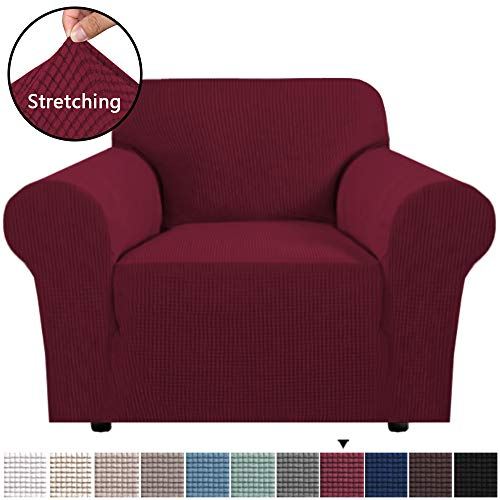 """H.VERSAILTEX High Stretch Rich Jacquard 1-Piece Sofa Cover/Sofa Chair Covers/Slipcover, Machine Washable Spandex Fabric Stay in Place Sofa Chair Slipcover (Armchair 32""""-48"""": Burgundy Red)"""