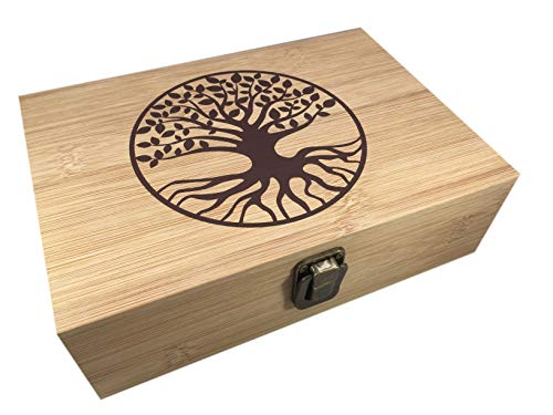 Bamboo Wood Hinged Cigar Storage Stash Box -8.5 x 6 x 2.5 Inches (Tree of Life) ()