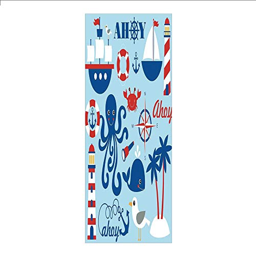 Ylljy00 Decorative Privacy Window Film/Cute Cheerful Sea Objects Collection Palm Trees Octopus Spyglass Sea Gull/No-Glue Self Static Cling for Home Bedroom Bathroom Kitchen Office Decor