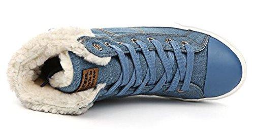 Summerwhisper Womens Trendy Gesp Bandjes Lace Up Enkel Hoge Sneakers Platform Fleece Gevoerde Denim Korte Snowboots Lichtblauw