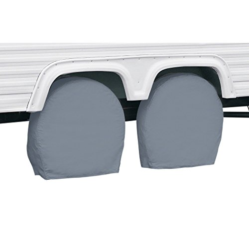 Classic Accessories OverDrive Standard RV & Trailer Wheel Cover, Pair, Grey, (For 24 - 27 diameter tires, up to 8.5 wide)
