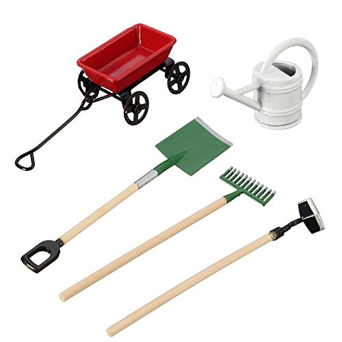 SODIAL DIY Watering Can Pulling Cart Spade Rake Garden Tools For Children Dolls House Miniatures Accessories Set