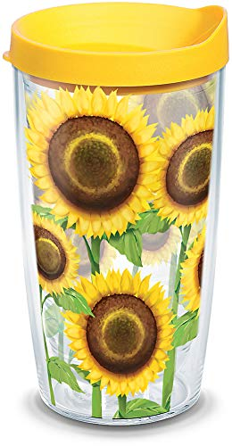 Tervis 1062112 Sunflowers Tumbler with Wrap and Yellow Lid 16oz, Clear