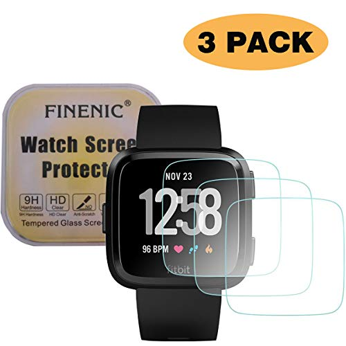 FINENIC Compatible for Fitbit Versa smartwatch Screen Protector Fitbit Versa (3-Pack) Ultra Thin HD Clear Bubble Free Anti Scratch Anti Fingerprint [Tempered Glass] [No White Edge][Easy-Install]