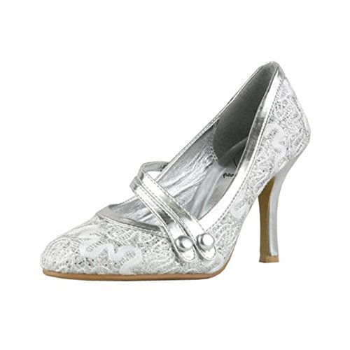 Las señoras brillan zapatos de mary jane de tacón alto con correa doble barra Glitter plata