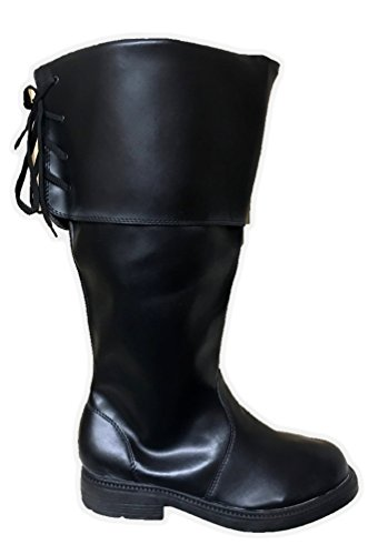 Dlx Men's Black Pirate Costume High Boot PU Leather Buccaneer Swashbuckler 8-13 -