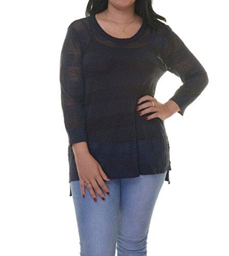 Ellen Tracy 3/4 Sleeve Zip Shoulder E-Navy Top Size L
