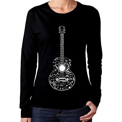 Women's Long Sleeve 100% Cotton T-Shirt, Fashion Guitar