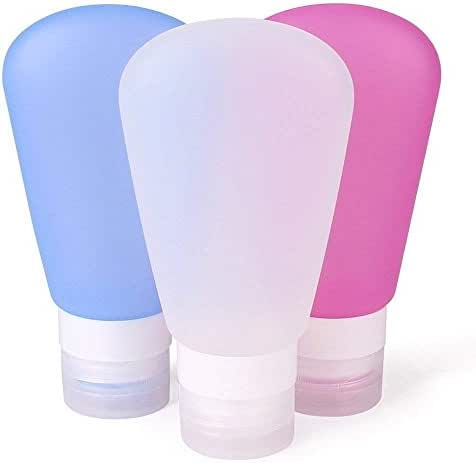 RockBirds Travel Bottles, Silicone Travel Containers Set, FDA Certificated TSA Approved (89 Milliliter 3 Pack)
