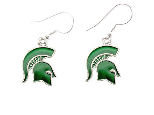 Michigan State Spartans Iridescent Green Charm French Hook Earring Jewelry MSU