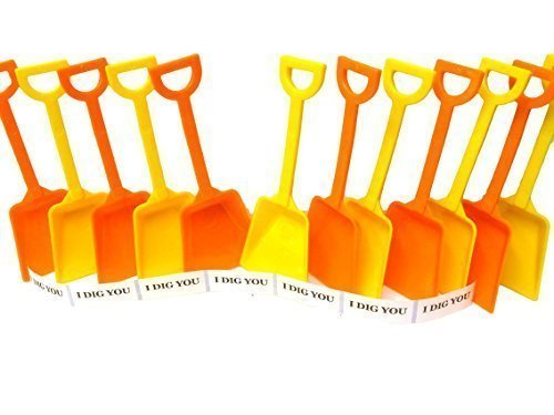 Small Toy Plastic Shovels Mix Orange & Yellow, 12 Pack, 7 Inches Tall, 12 I Dig You Stickers (Plastic Toy Shovel)