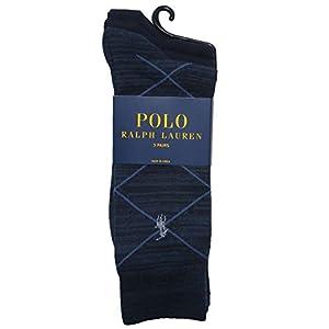 Polo Ralph Lauren Men's 3 pack Argyle&Solid Socks (One size - Shoe Size 6-12, Navy Blue)