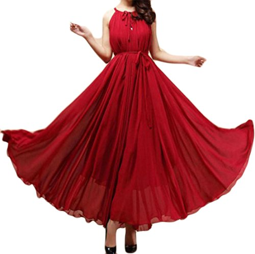 Cruiize Womens Fines Bretelles Bohême Flowy Grand Ourlet Haut Vin Rouge Robe Maxi Taille