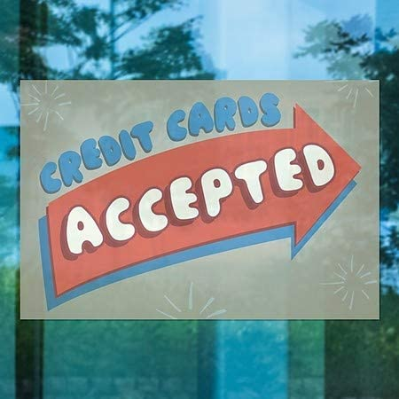 36x24 Nostalgia Arrow Window Cling Credit Cards Accepted CGSignLab