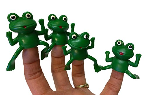 Set of Five Rubber Finger Frog Puppets ()