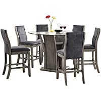 Abbey Avenue D-ISS-RC7P 7 Piece Issey Round Counter Dining Set-Table, Gray Wash