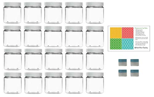 Clear 8 oz Plastic Jars with White Lids (20 pk) with Mini Jar - PET Round Refillable Containers ()
