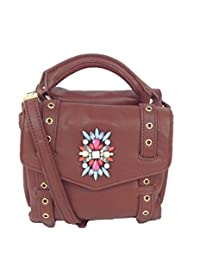 Cynthia Rowley Posy Leather Satchel Crossbody, Brandy