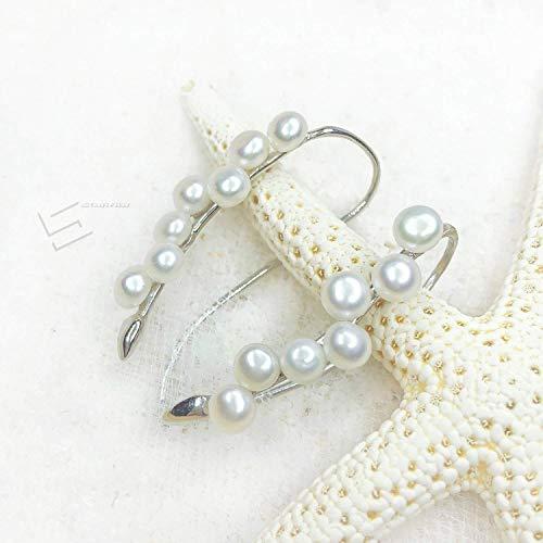 Seed Pearls Cluster Earrings, Delicate Freshwater Cutlured Pearl In Sterling Silver Hook Earrings, Big Dipper Earrings, Real Pearl Jewelry