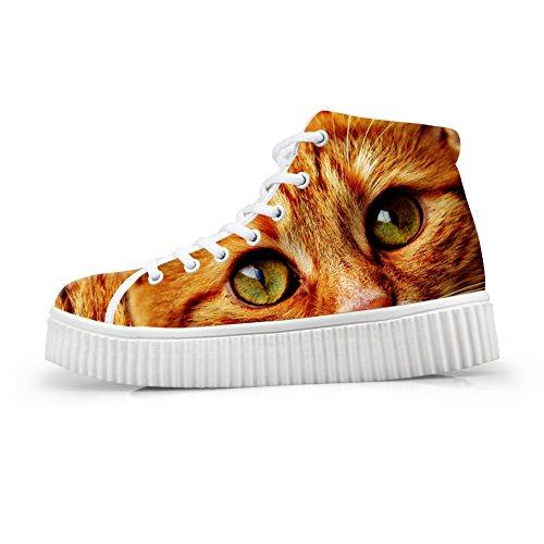 Top Print Cat Cat Face Sneakers Fashion 61 Women High Face Shoes HUGSIDEA Platform wtvg0Uqxn1