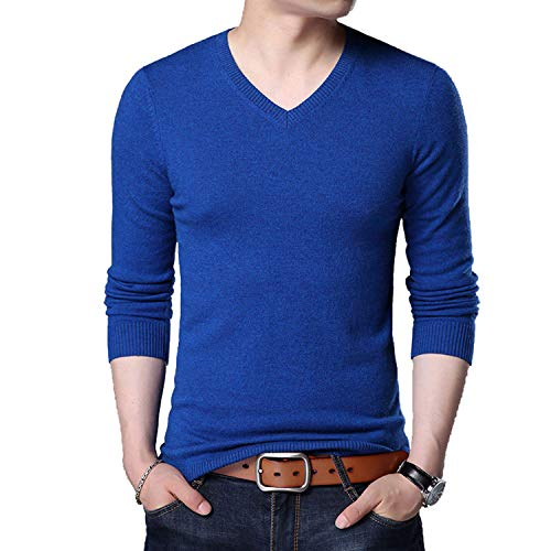 TOGIC Wool Casual Classic V-Neck Men's Pullover Sweaters Multicolor Blue XXXL ()