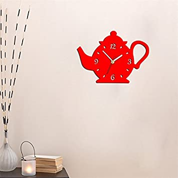DIY 3D Wall Clock Acrylic Coffee Cup Teapot Shape Decorative Kitchen Wall Clocks Living Room Dining Room Home Decor Clock Stickers Removable Glitter Gold