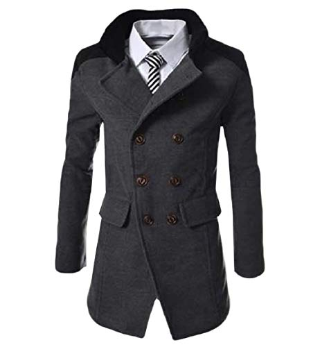 Breasted Mens Dark Turn Business Wool Mogogo Outwear Parka Double Grey Collar Down CRBd7qXqw