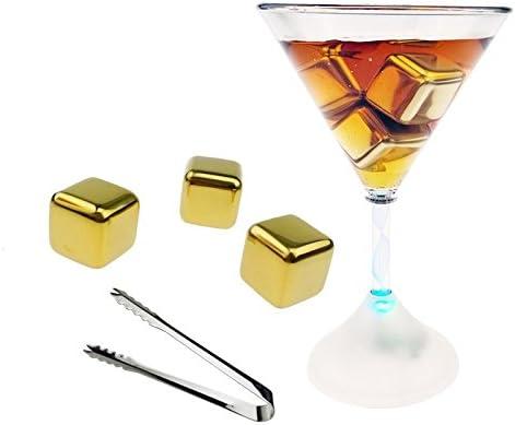 TOOGOO 6 Stuecke 304 Edelstahl whisky Wein Steine ??Wiederverwendbare Kuehler eiswuerfel Ball gold