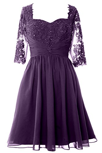 Mother MACloth Lace Half Women Cocktail Formal Gown Eggplant Sleeve of Dress Bride Midi Hw8qHr0O