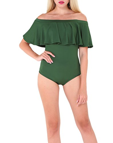 Estate Senza Intero Schienale Off Verde Slim Spalline Moda Costumi Fit Donna Beachwear Senza Spalla Con Giovane Da Body Spalla Di Bodysuit Volant Parola Mare Swimsuit Bagno wqqIxA6Z1