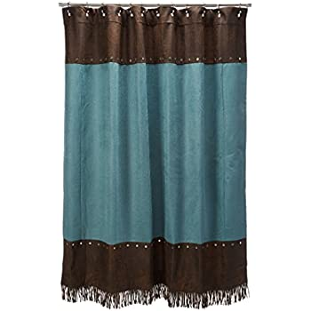 HiEnd Accents Cheyenne Western Shower Curtain Turquoise