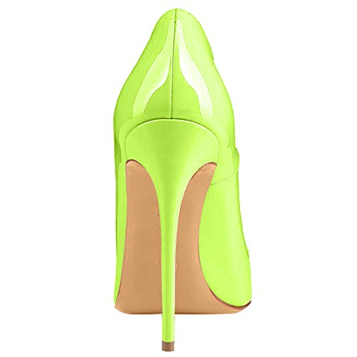 Calaier Women Cahen Pointed-Toe 12CM Stiletto Slip-on Court Shoes Green E zpBZrUNZyd