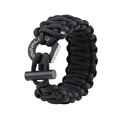 Paracord Survival Bracelet - Adjustable 550 - Fire Starter - Eye Knife - Fits Wrists 6 to 9 inches (Medium Size) by Survival Hax