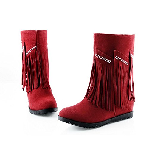 Tassels M US Solid Diamond Short PU Red Heels Boots Round AmoonyFashion Toe Womens Glass B 7 with Low Plush and Closed zwxzqH7RSA