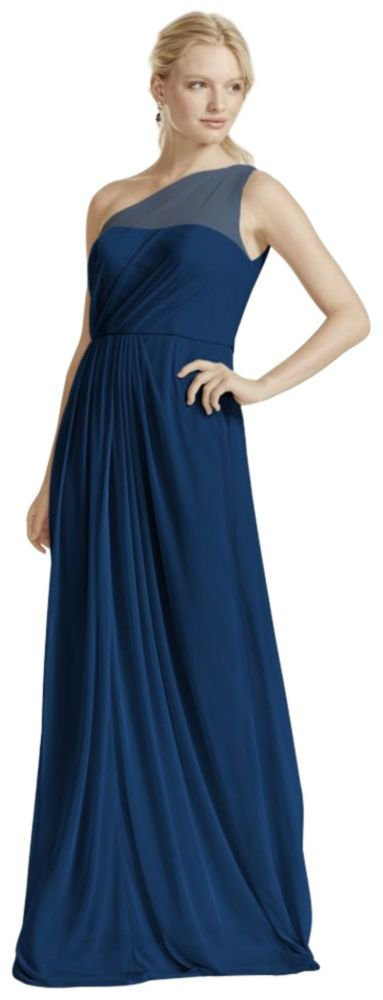 Long Mesh Bridesmaid Dress with One Shoulder Neckline Style F15928, Marine, 10