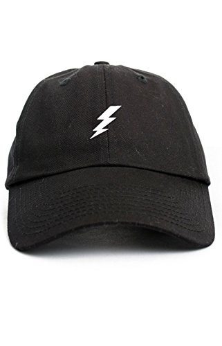 Bolt Hat (Lightning Bolt Dad Hat Baseball Cap Unstructured New - Black)