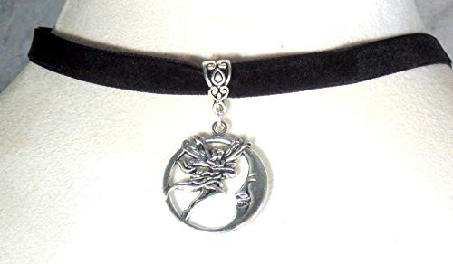 Fairy and laughing moon choker - Black Beaded Fairy Necklace